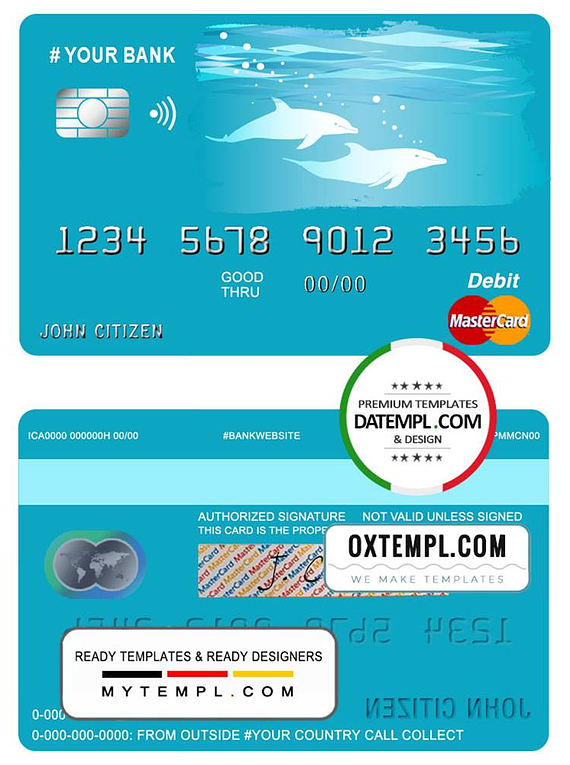# wander dolphins universal multipurpose bank mastercard debit credit card template in PSD format, fully editable