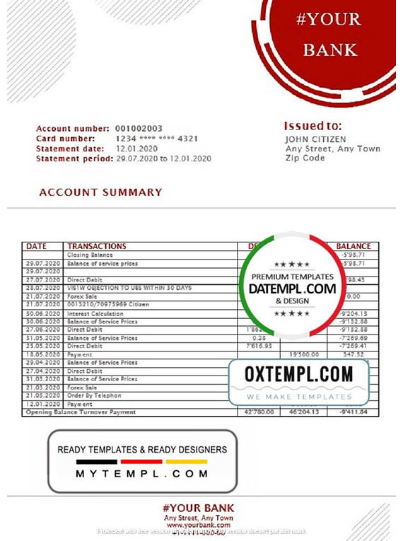 # red circles universal multipurpose bank statement template in Word format
