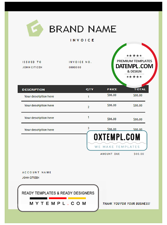 # onpoint green universal multipurpose invoice template in Word and PDF format, fully editable