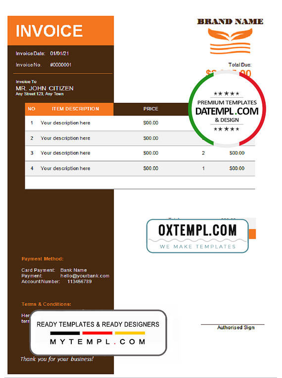 # orange matter universal multipurpose invoice template in Word and PDF format, fully editable