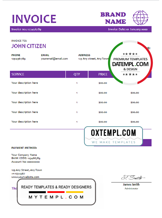 # purple stamp universal multipurpose invoice template in Word and PDF format, fully editable