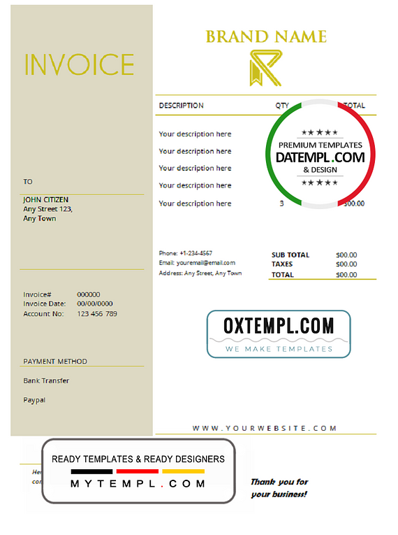 # super credible universal multipurpose invoice template in Word and PDF format, fully editable