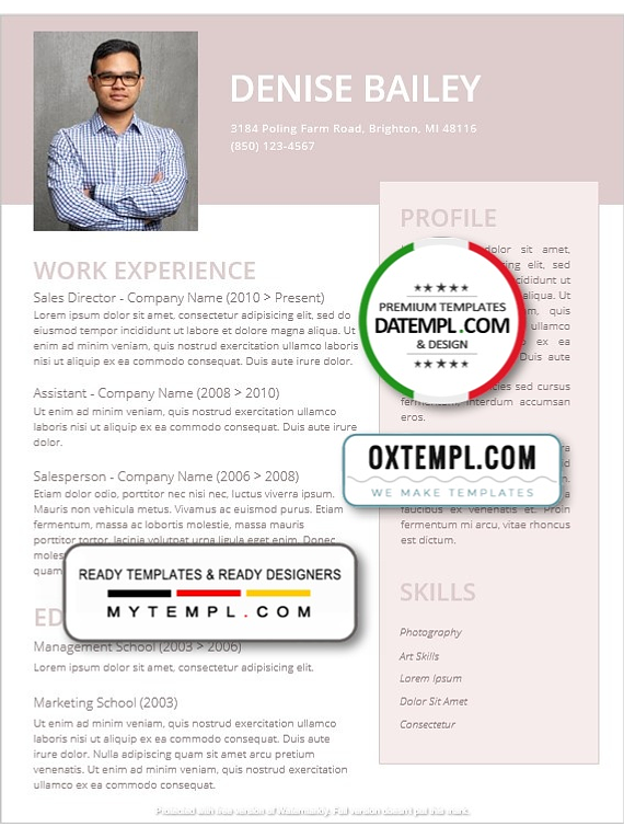 Modern and Creative Resume template in WORD format