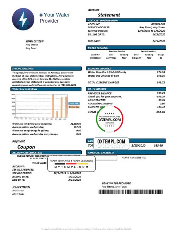 # electric trust universal multipurpose utility bill template in Word format