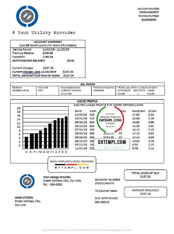 # energy stocks universal  multipurpose utility bill template in Word format