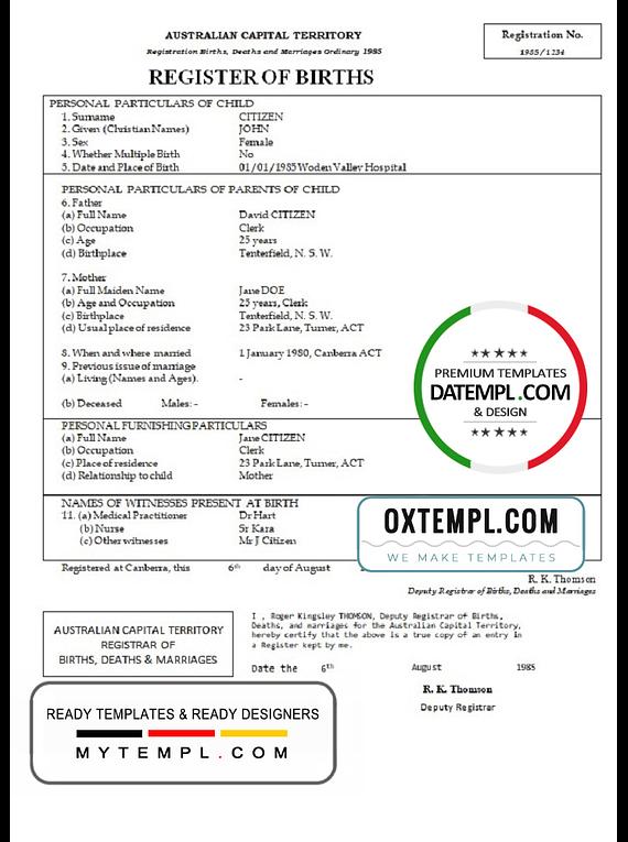 Australia Australian Capital Territory birth certificate template in Word format, version 1