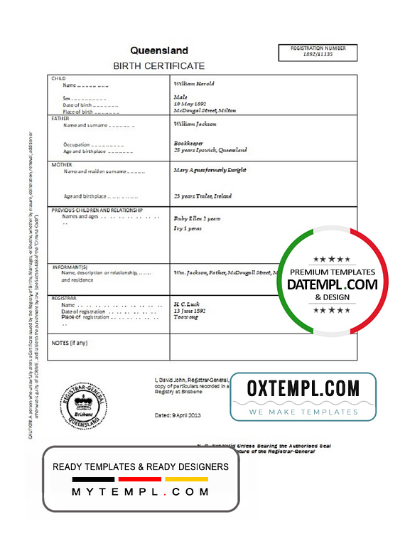 Australia Queensland birth certificate template in Word format