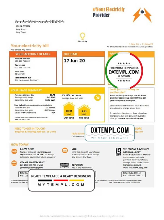 # electric fare universal multipurpose utility bill template in Word format