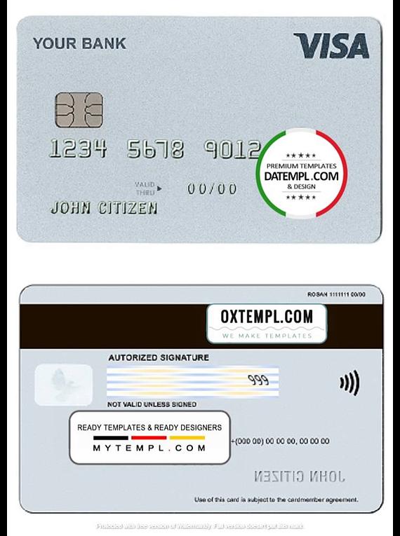 # external grey universal multipurpose bank card template in PSD format, fully editable