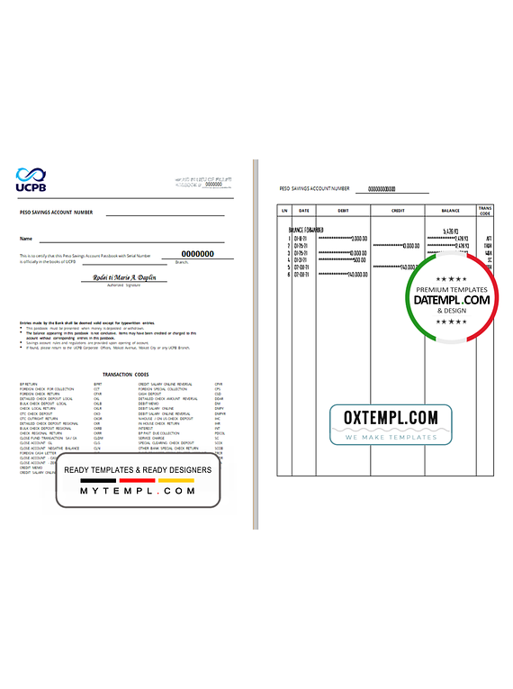 Philippines The United Coconut Planters Bank (UCPB) passbook template in .doc and .pdf file format