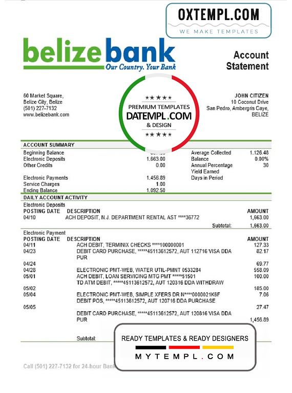 Belize Belizebank proof of address bank statement template in Word and PDF format