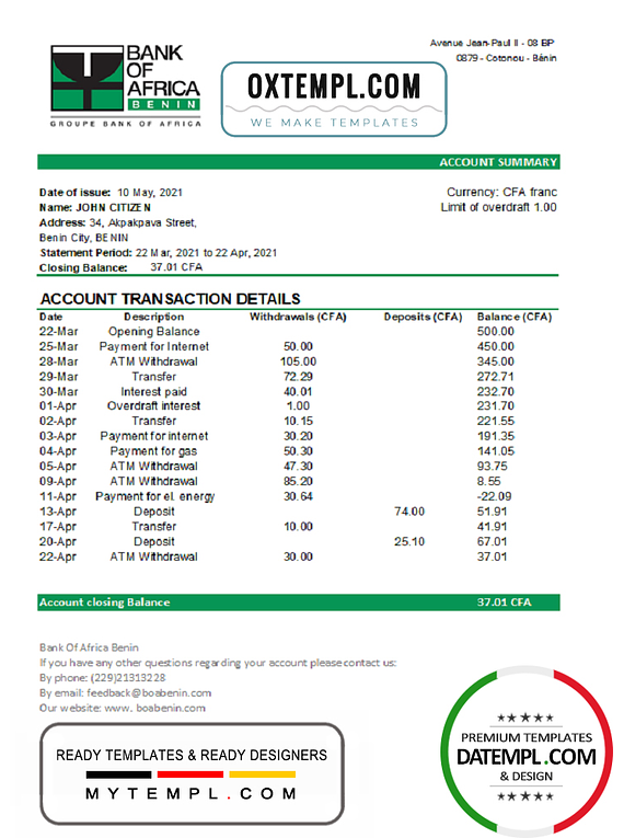 Benin Bank of Africa bank statement easy to fill template in Excel and PDF format