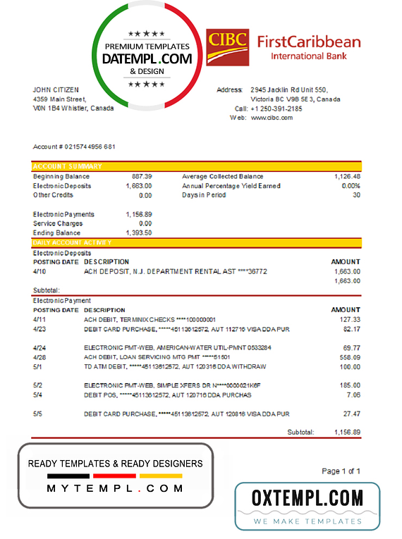 Canada CIBC Bank statement template in Excel and PDF format (AutoSum)