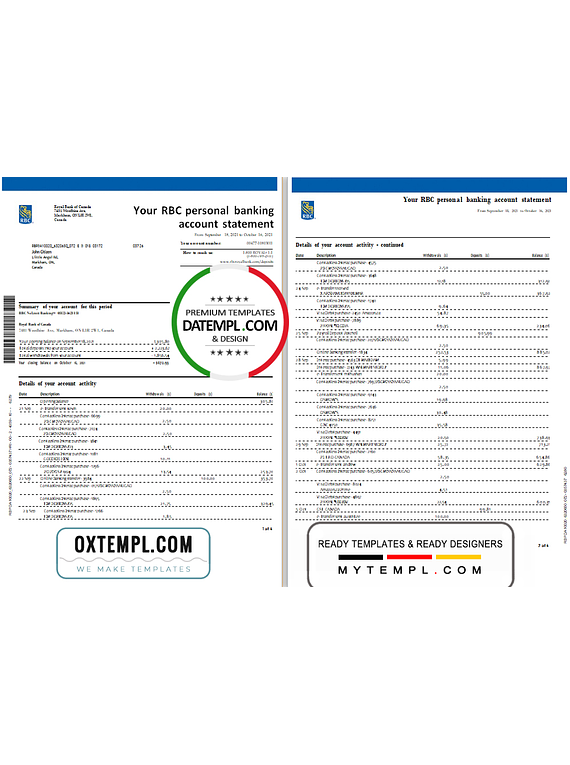 Canada Royal Bank of Canada (RBC) bank statement template in .xls and .pdf file format (4 pages) (AutoSum)