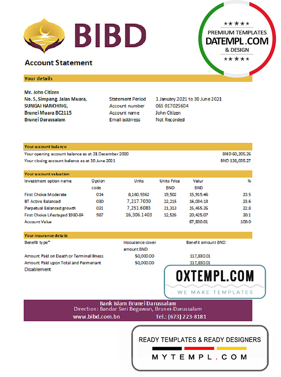 Brunei Bank Islam Brunei Darussalam bank statement easy to fill template in Excel and PDF format (AutoSum)