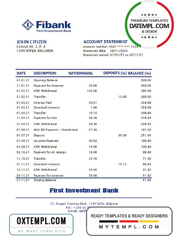 Bulgaria Fibank bank statement easy to fill template in Excel and PDF format (AutoSum)