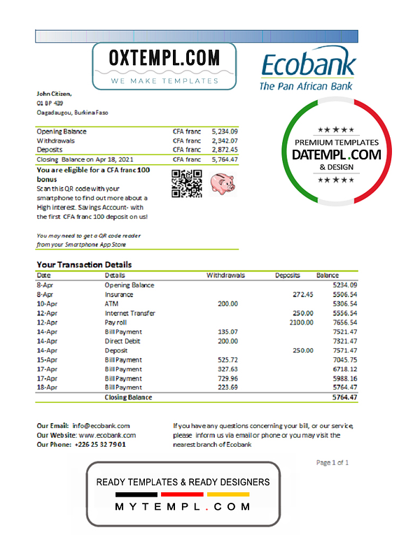 Burkina Faso Ecobank bank statement easy to fill template in Excel and PDF format