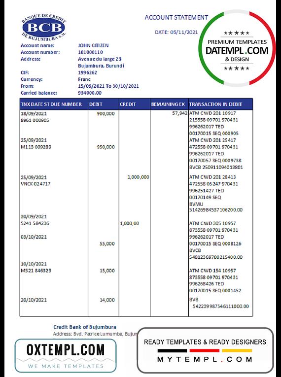 Burundi Credit Bank of Bujumbura bank statement template in .xls and .pdf file format