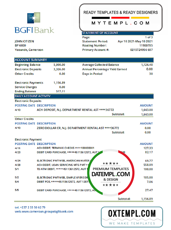 Cameroon BGFI bank statement easy to fill template in Excel and PDF format