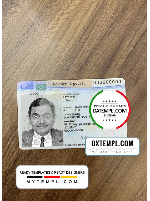 Czech driving license template in PSD format, fully editable (scan + photo look PSD files)
