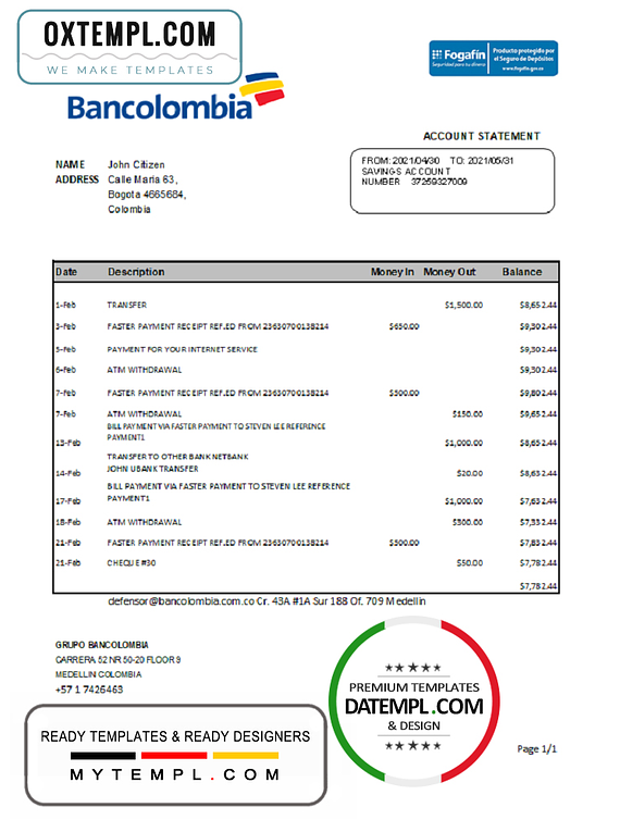 Colombia Bancolombia bank statement easy to fill template in Excel and PDF format