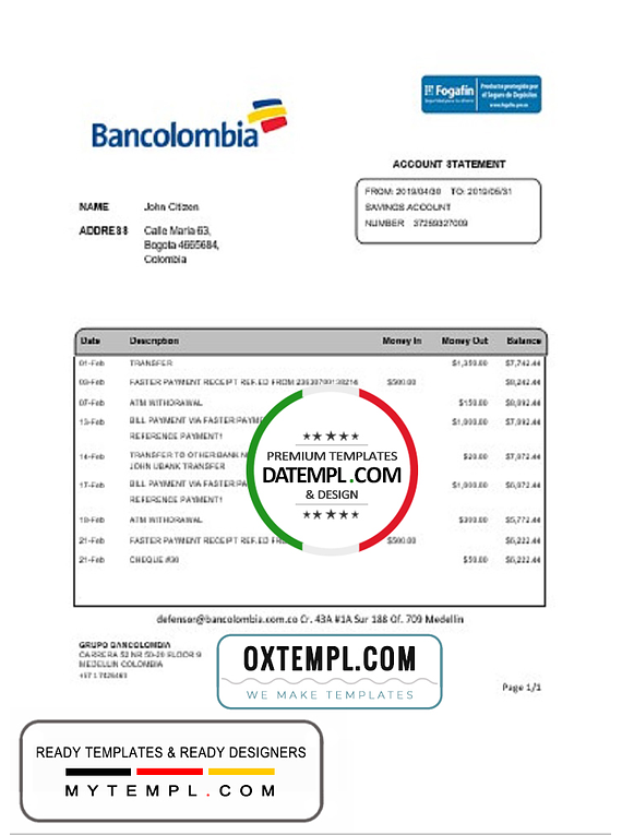 Colombia Bancolombia bank statement easy to fill template in Word and PDF format
