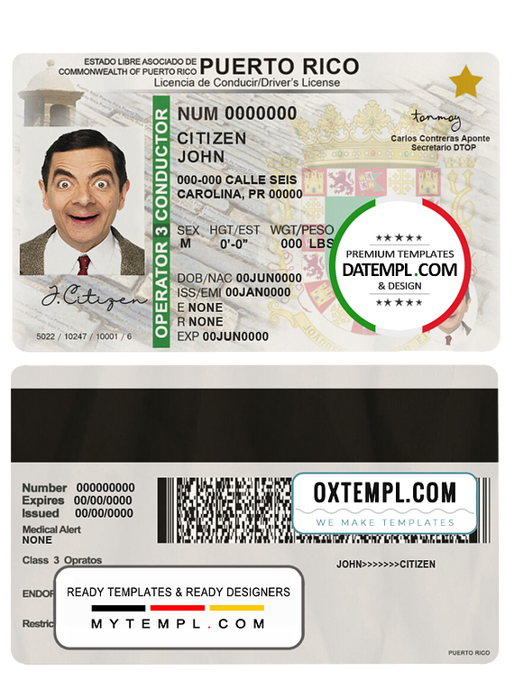 Puerto Rico driving license template in PSDformat, fully editable