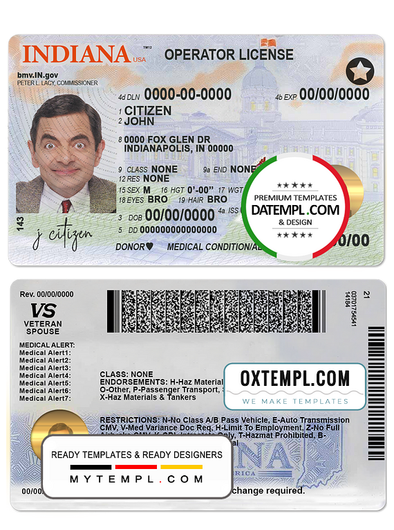USA Indiana driving (operator) license template in PSD format (2019 - present)