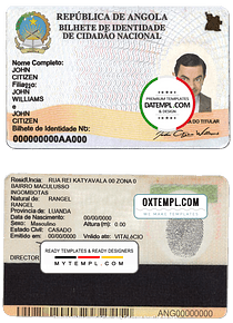 Angola ID card template in PSD format, with fonts