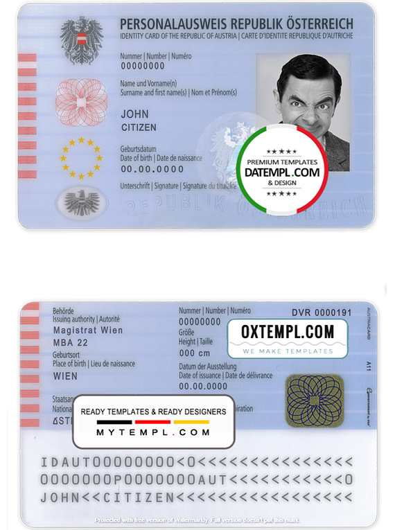 Austria ID template in PSD format, fully editable, with all fonts