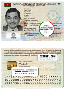 Azerbaijan ID template in PSD format