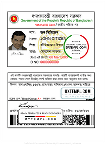 Bangladesh national ID template in PSD format, fully editable