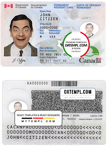 Canada Permanent resident card template in PSD format, fully editable