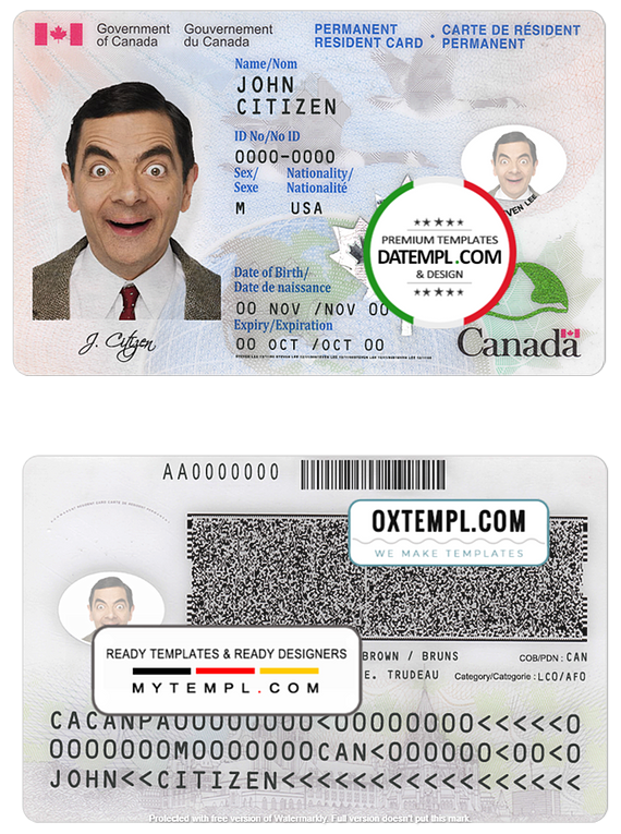 Canada Permanent resident card template in PSD format, fully editable (+ editable PSD photo look)