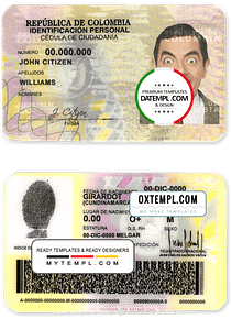 Colombia ID template in PSD format, fully editable (2010 - 2020)