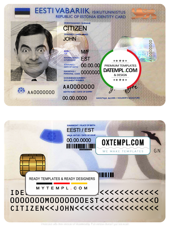 Estonia ID template in PSD format