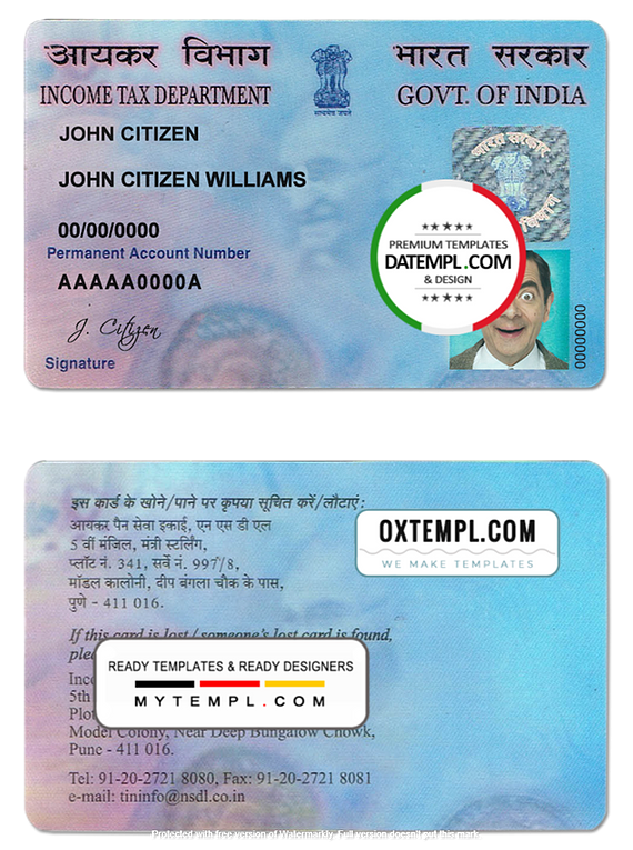 India e-PAN card template in PSD format (Income Tax Department), fully editable, with all fonts