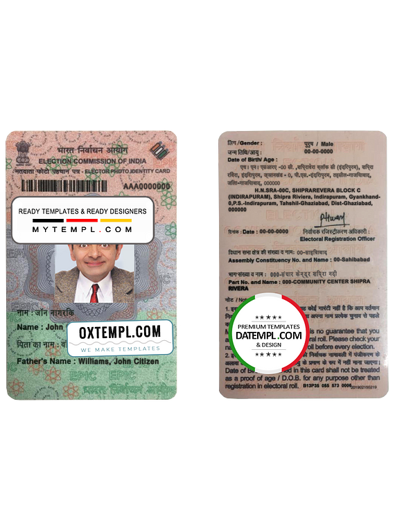 India Election ID card template in PSD format, fully editable, with all fonts