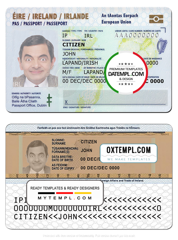 Ireland ID template in PSD format, fully editable, with all fonts