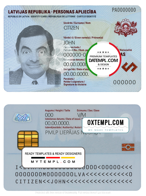 Latvia ID template in PSD format