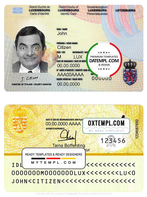 Luxembourg ID template in PSD format