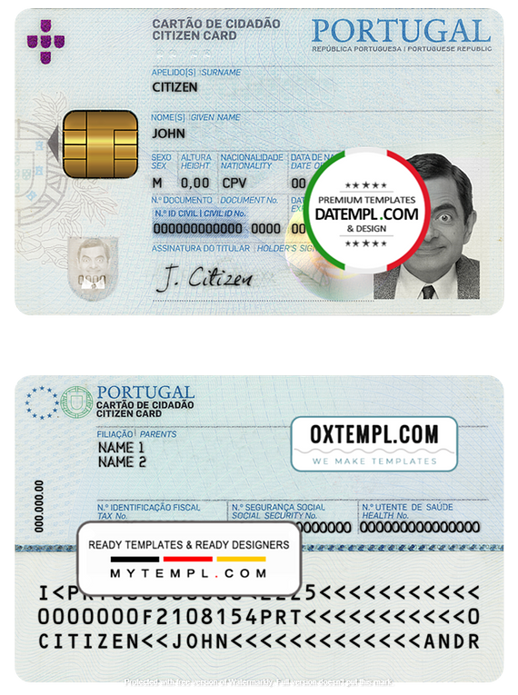 Portugal ID template in PSD format
