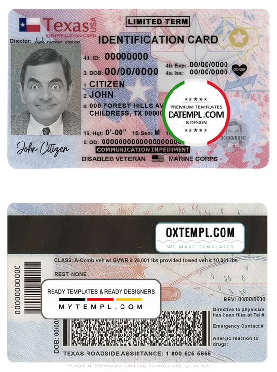 USA Texas state ID card template in PSD format, fully editable (2020 - present)