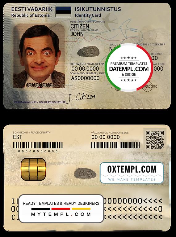 Estonia ID template in PSD format, fully editable (2018 - present)