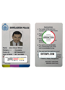 Bangladesh police ID template in PSD format, completely editable