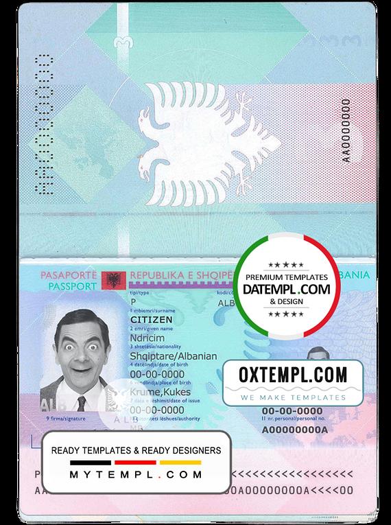 Albania passport template in PSD format