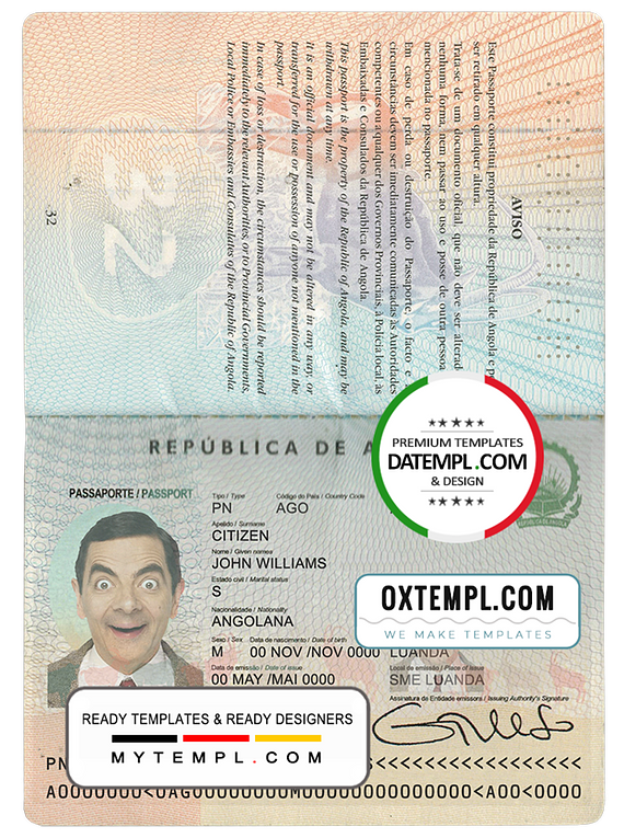 Angola passport template in PSD format, fully editable, with all fonts