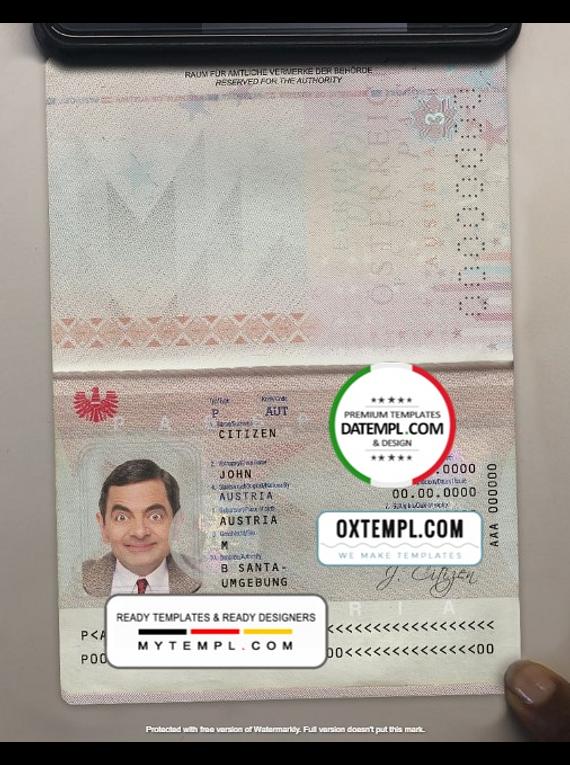 Austria passport template in PSD format (+ editable PSD photo look)