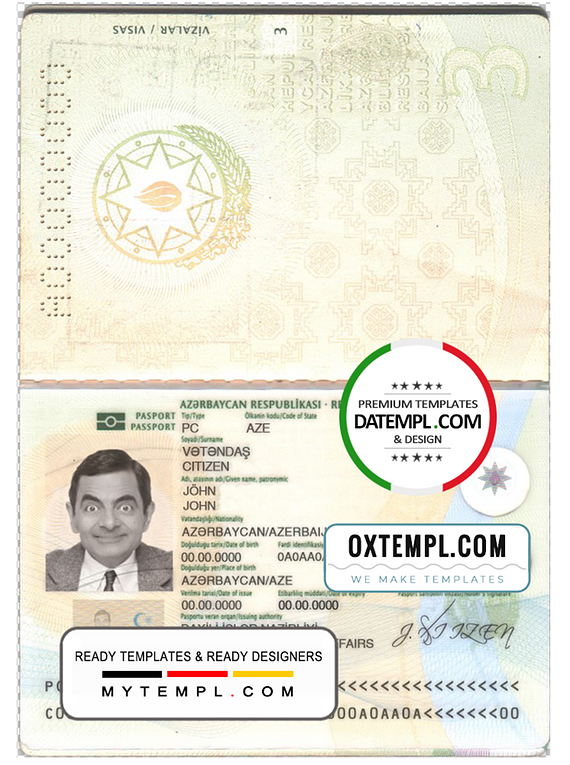 Azerbaijan passport template in PSD format, fully editable