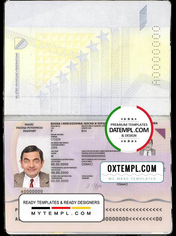 Bosnia and Herzegovina passport template in PSD format